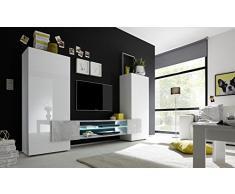 INCASTRO 709033B Wohnwand TV Möbel, Holz, weiß, 258 x 37 x 144 cm