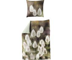 Bierbaum Satin Digitaldruck Design 5120 Bettdecke 135/200 + Größe Kissen 080/080 Bettwäsche, Baumwolle, Oliv, 135 x 200 cm, 2-Einheiten