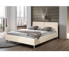 RIJA Doppelbett aus PU Kunstleder, Beige, 160 x 200 cm