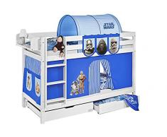 Lilokids Etagenbett Jelle TÜV und GS geprüft Star Wars, Hochbett mit Vorhang und Lattenroste Kinderbett, Holz, blau, 208 x 98 x 150 cm