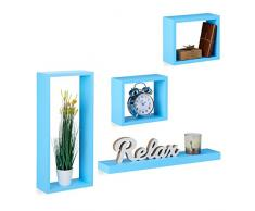 Relaxdays Wandregal 4er Set, Cube Regale Holz, Regalbrett freischwebend, stabile Hängeregale Kinderzimmer, MDF, blau