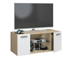 VCM TV Schrank Lowboard Tisch Board Fernseh Sideboard Wandschrank Wohnwand Holz Sonoma-eiche/Weiß 40 x 95 x 36 cm Jusa