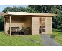 Weka Gartenhaus, Designhaus 172 A Größe 1, 28 mm, ET, Anbau 300 cm, ohne RW, natur, 575x314x226 cm, 172.2424.40201