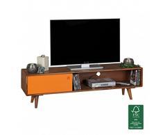 Wohnling TV Lowboard Repa, im Retro-Design mit 1 Tür Repa, 140 x 40 x 35 cm, dunkelbraun/orange