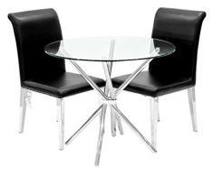 Febland Chrom Criss-Cross-Basis Esstisch und 2 Kirkland Esszimmerstühle, Glas, Schwarz, 74 x 90 x 90 cm
