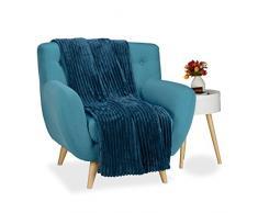 Relaxdays Kuscheldecke groß, Tagesdecke 150 x 200 cm, Wohndecke warm, Sofadecke flauschig, Sofaüberwurf uni, dunkelblau