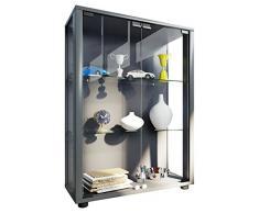 VCM Sammelvitrine Standvitrine Glasvitrine Glasregal Vitrine Glas Schaukasten mit LED-Beleuchtung Silber Sintalo