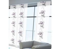 GARDINIA Flächenvorhang (1 Stück), Schiebegardine, Blickdicht, Flächenvorhang Stoff Waschbar, Blumen, Weiß/Lila, 60 x 245 cm (BxH)