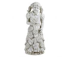 """Design Toscano Gartenfigur Kleines Mädchen """"Savannahs Sonnenblumen"""", off weiß, 26,5 x 28 x 68,5 cm, KY47115"""