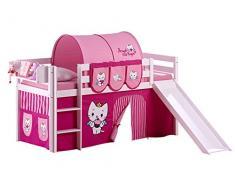 Lilokids Spielbett Jelle Angel Cat Sugar, Hochbett mit Rutsche und Vorhang Kinderbett, Holz, weiß, 208 x 98 x 113 cm