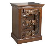 SIT-Möbel Almirah 5111-30 kolonialer Nachttisch, eine Tür, recyceltes Holz, Metallapplikationen, 55x45x70 cm