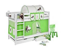 Lilokids Etagenbett Jelle TÜV und GS geprüft Pferde, Hochbett mit Vorhang und Lattenroste Kinderbett, Holz, grün / beige, 208 x 98 x 150 cm