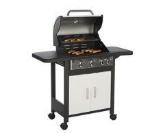 Barbec-U Gasgrill 3 + 1, Grillwagen, Grillstation, 3 Hauptbrenner und 1 Seitenkocher, Weiß