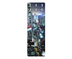 Apalis 78801 Wandgarderobe Dubai Lights | Design Garderobe Garderobenpaneel Kleiderhaken Flurgarderobe Hakenleiste Holz Standgarderobe Hängegarderobe | 139x46cm