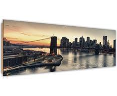 Feeby, Wandbild, Deco Bild, gedrucktes Bild, Deco Panel, Bild, Panoramabild 25x70 cm, BROOKLYN BRIDGE, NEW YORK, STADT, GEBÄUDE, WOLKENKRATZER, ARCHITEKTUR, WASSER, ANSICHT, SCHWARZ