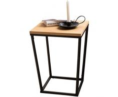 WOHNLING Beistelltisch SKANDI Retro Design:DF-Holz Eiche 60 x 50 x 50 cm   Wohnzimmertisch mit Metall-Gestell   Ablagetisch Anstelltisch hoch