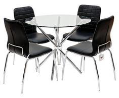 Febland Chrom Criss-Cross Base Esstisch und 4 Chequers Esszimmerstühle, Glas, Schwarz, 74 x 90 x 90 cm