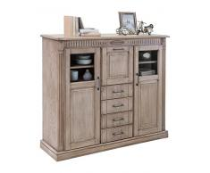 BFK Möbel Collection 705017 Highboard Esszimmerschrank, 141 x 117,5 x 42,5 cm, eiche teilmassiv, castellfarbig