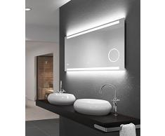 LED Badspiegel Talos King,120 x 60 cm, Lichtfarbe 4200K, Beleuchteter Kosmetikspiegel, Digitaluhr