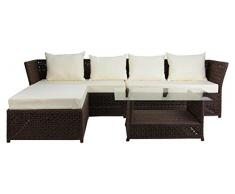 Rattan4Life 4-teilig Florenz Deluxe Polyrattan Gartenmöbel Set, Sofa / Lounge / Gartengarnitur / Kissenbezug, hellbraun / mix / beige