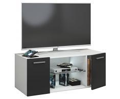 VCM TV Schrank Lowboard Tisch Board Fernseh Sideboard Wandschrank Wohnwand Holz Weiß/Schwarz 40 x 95 x 36 cm Jusa