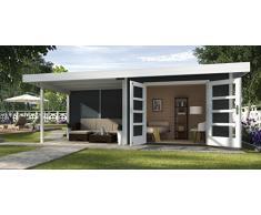 Weka Gartenhaus, Designhaus 126 B Größe 2, 28 mm, DT, Anbau 300 cm ohne RW, anthrazit, 651x314x226 cm, 126.3024.46201