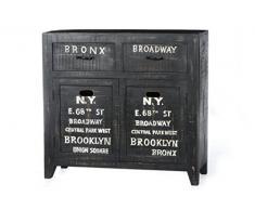 Sit Möbel Bronx 4209-11, Sideboard mit je 2 Türen & Schubladen, Mangoholz, schwarz lackiert, Wordprints, 90 x 30 x 85 cm