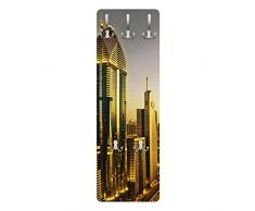 Apalis 78974 Wandgarderobe Goldenes Dubai | Design Garderobe Garderobenpaneel Kleiderhaken Flurgarderobe Hakenleiste Holz Standgarderobe Hängegarderobe | 139x46cm