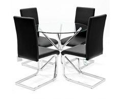 Febland Chrom Criss-Cross-Basis Esstisch und 4 Brescia Esszimmerstühle, Glas, Weiß, 74 x 90 x 90 cm