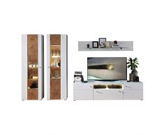 Stella Trading DNWZD1080 Modernes Wohnprogramm Wohnwand Set, 5-teilig, Absetzungen Hirnholz Nachbildung, Holzdekor, weiß matt, 48 x 360 x 202 cm