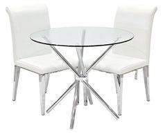 Febland Chrom Criss-Cross-Basis Esstisch und 2 Kirkland Esszimmerstühle, Glas, Weiß, 74 x 90 x 90 cm
