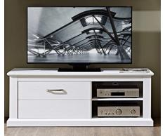 Stella Trading TV Unterteil Lowboard unterschrank Fernsehschrank Landhaus Fernsehtisch, Holz, weiß, 150.00 x 52.00 x 58.00 cm