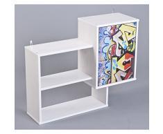 Links 20704020 Regal, Massivholz, MDF, weiß graffiti, 78 x 25 x 66 cm
