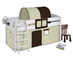 Lilokids IDA4105KW-BRAUN-BEIGE Kinderbett, Holz, braun / beige, 208 x 98 x 113 cm
