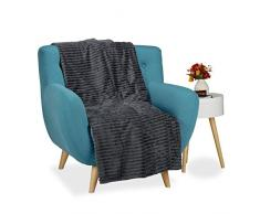 Relaxdays Kuscheldecke groß, Tagesdecke 150 x 200 cm, Wohndecke warm, Sofadecke flauschig, Sofaüberwurf uni, anthrazit