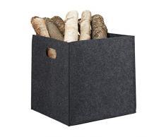 Relaxdays Quadratischer Filzkorb, H x B x T: 30 x 30 x 30 cm, faltbar, mit 2 Trageöffnungen, Regalkorb, anthrazit