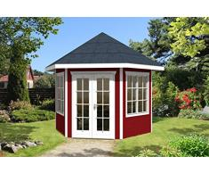 SKAN HOLZ Pavillon Almelo 28 mm, Gartenhäuser, schwedenrot, 303 x 350 x 354 cm