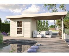Weka Gartenhaus, Designhaus Line 172 B, Größe 1, 28 mm, ET, Anbau 300 cm, natur, 544x284x226 cm, 172.2121.70201