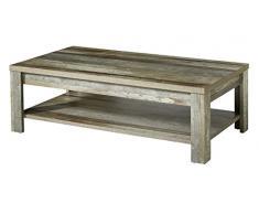 Stella Trading BZDDD02902 Holztisch mit boden, Beistelltisch, Holz, braun, 130 x 43 x 65 cm