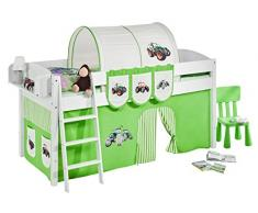 Lilokids IDA4105KW-TRECKER-GRUEN Kinderbett, Holz, trecker grün, 208 x 98 x 113 cm