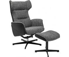 Kare Drehsessel mit Hocker Ohio Salt And Pepper, 79945, Designer Loungesessel zum Chillen, grau-schwarz (H/B/T) 106x71x106cm
