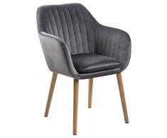 AC Design Furniture Wendy Esszimmerstuhl, Stoff, dunkelgrau, 59 x 57 x 83 cm