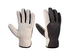 Xclou Arbeitshandschuhe in Schwarz/Weiß mit Leder-Verstärkung , Schutzhandschuhe XL / Gr 10 mit Stulpe, Schutz-Handschuhe für Handwerker für Arbeit in Haus & für Hobby
