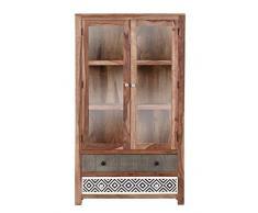 Stylefurniture Glasvitrine mit optischen Highlights, Holz, natur, 100 x 43 x 178 cm