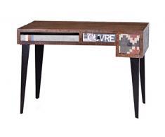 SIT-Möbel 1407-30 Schreibtisch Wood und Textil, Mangoholz mit Jute, 120 x 60 x 76 cm, bunt