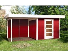 Weka Gartenhaus, Designhaus 172 B Größe 2, 28 mm, ET, Anbau 300 cm, ohne RW, rot, 575x375x226 cm, 172.2430.43201