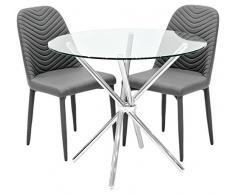 Febland Chrome Criss-Cross-Basis Esstisch und 2 Riversway Esszimmerstühle, Glas, Grau, 74 x 90 x 90 cm