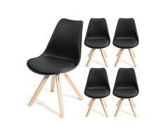HomeKraft Fjone Wohnzimmerstühle Esszimmerstühle Designerstühle Sitzgruppe Essgruppe (1 Stuhl), Polypropylen, Schwarz, 57 x 48 x 83 cm