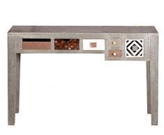 SIT-Möbel 1307-97 Schreibtisch Metal & Bone, 120 x 48 x 76 cm, Mango, MDF, Messing, Metall, Kupfer, Coconut Shell, Knochen, bunt