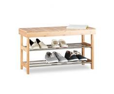 Relaxdays Schuhregal mit Sitzfläche, Bambus Schuhschrank f. 6 Paar Schuhe, Sitzbank m. Stauraum Hbt: 43x74x30 cm, Natur, 30 x 74 x 43 cm 5 Kg